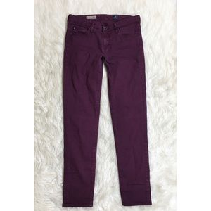 AG The Stevie Ankle Slim Straight In A Wine Color